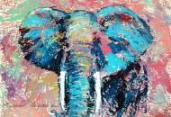 """Картина маслом """"Абстрактный Бирюзовый Слон"""" художник Наталия Ширяева"""