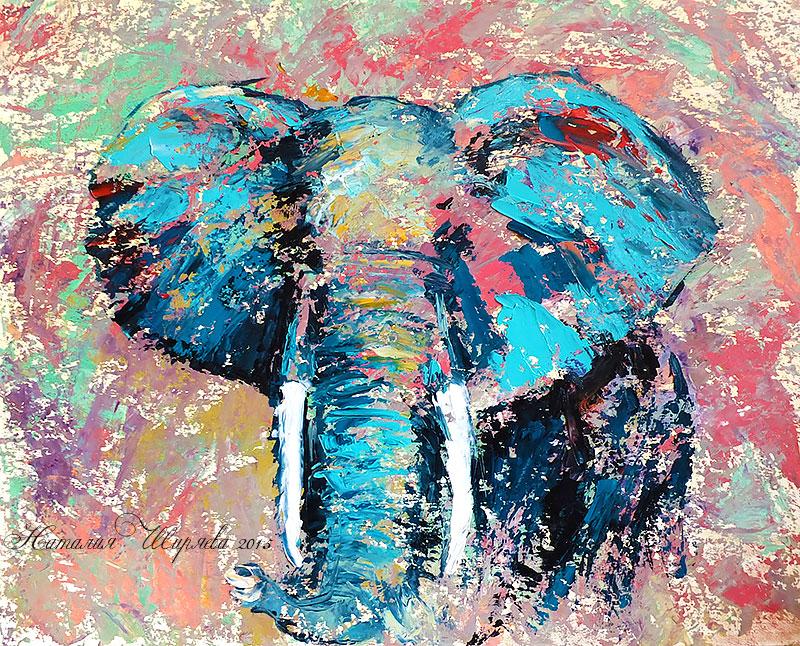 Абстрактный Бирюзовый Слон - картина маслом