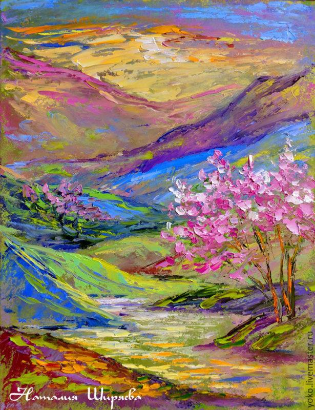 """Картина """"Сакура в горах Вьетнама"""" художник Наталия Ширяева"""