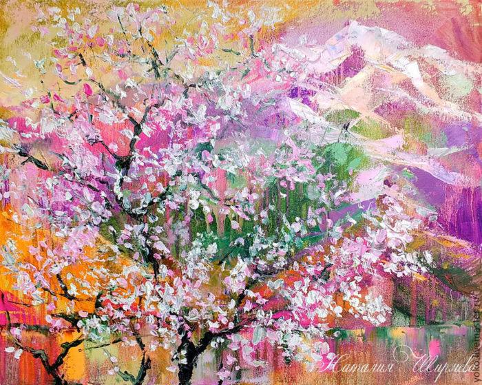 "Картина ""Цветение Сакуры на горе Doi Suthep"" художник Наталия Ширяева"