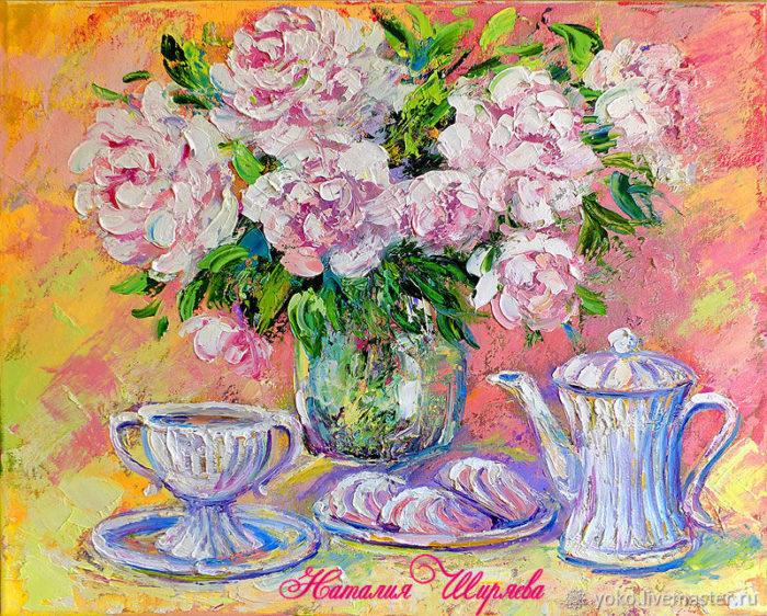 """Картина """"Пионы и Чай с Зефиром"""""""