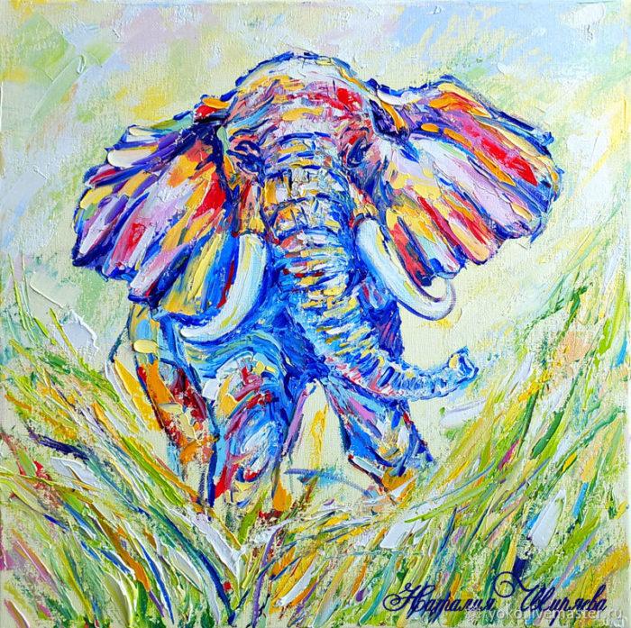 """Картина со слоном """"Прямиком к Мечте"""""""
