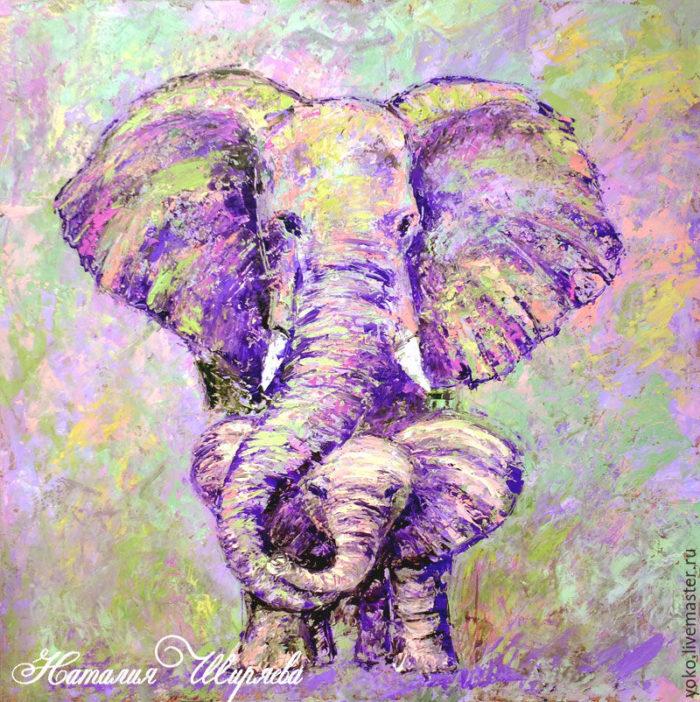 """Картина со слонихой и слоненком """"Под Маминой Защитой"""""""
