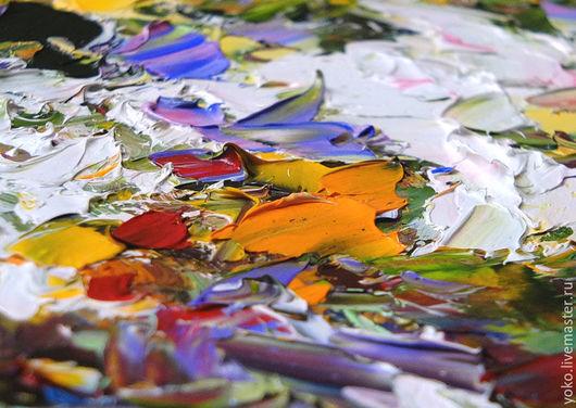 Лилии маслом - фрагмент картины
