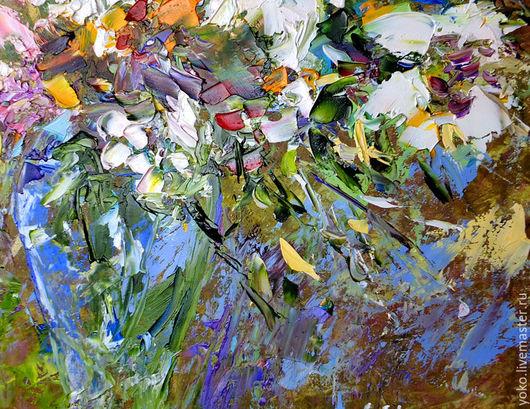 Картина с лилиями маслом - фрагмент