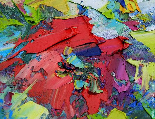 Фрагмент картины маслом с цветами от художника Наталии Ширяевой