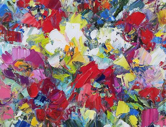 Картина с цветами написанная маслом на холсте