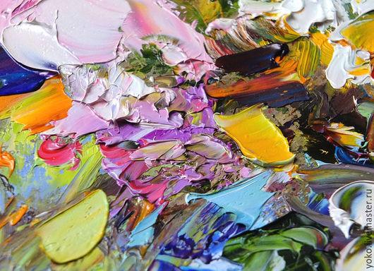 Фрагмент картины маслом с цветами - Букет с Белыми Лилиями