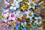 Картина маслом с цветами - Букет с Белыми Лилиями