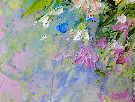 Фрагмент картины маслом - натюрморт цветы ромашки