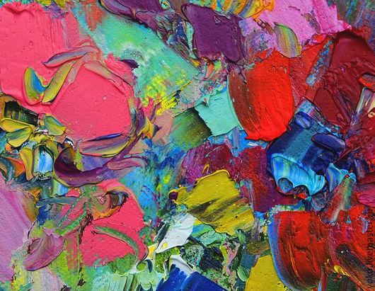 Детали картины маслом на холсте - объемная живопись мастихином