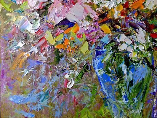 Картина маслом букет с цветами лилиями