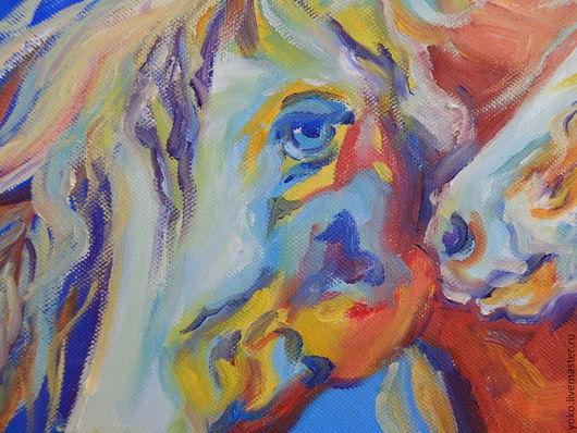 Фрагмент картины с лошадьми