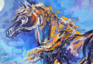 Картина с лошадью маслом - фрагмент