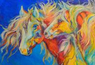 Индейская Ночь - картина с лошадьми холст масло