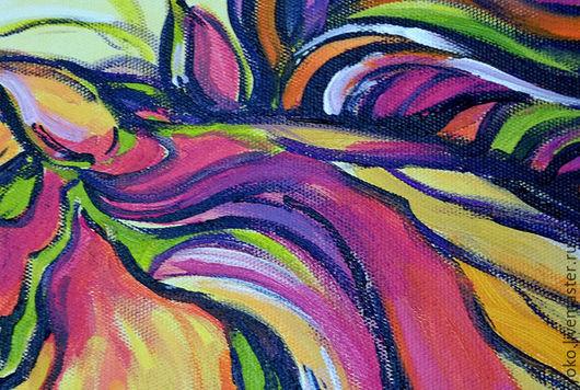 Фрагмент картины с лошадью - яркая грива