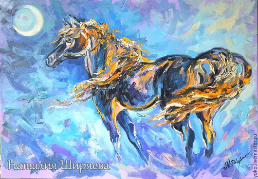 В Ночное - картина с лошадью маслом