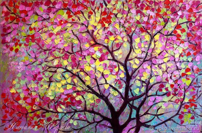"Картина с сакурой ""Дерево Счастья"" художник Наталия Ширяева"