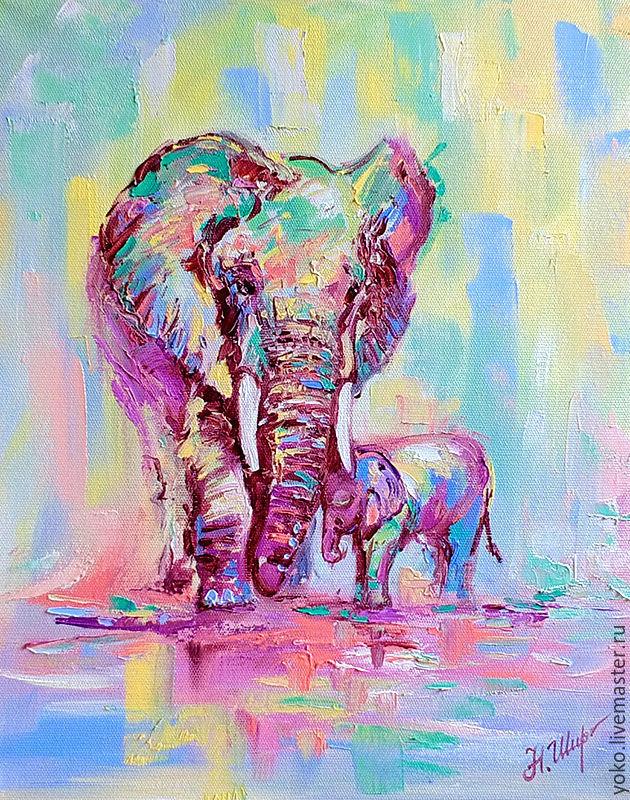 """Картина со слонами """"Нежность"""" (холст, масло)"""