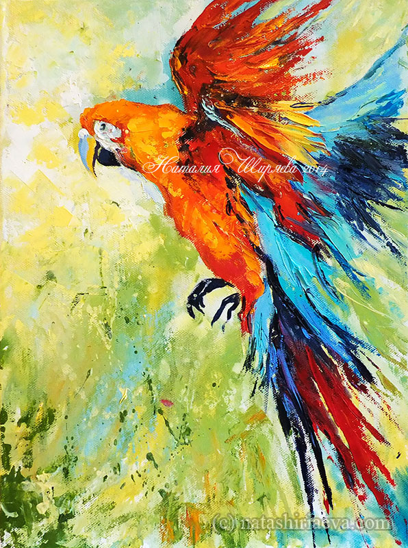 """Картина с попугаем """"Стремящийся к Свету"""""""