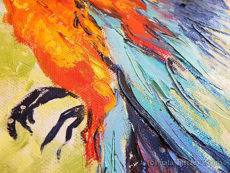 Детали картины с попугаем маслом