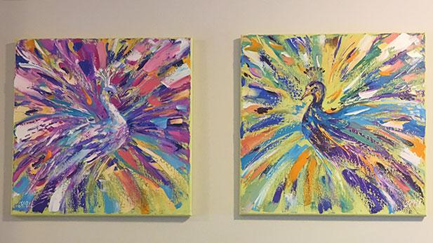 Наталия Ширяева - диптих с павлинами в Канаде