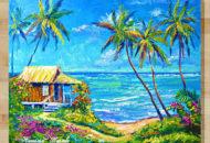 Картина маслом домик у моря купить