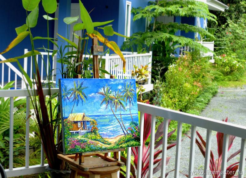 Картина домик у моря маслом на холсте