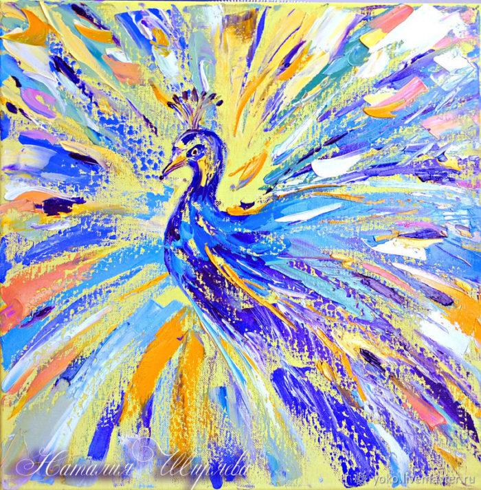 Картина маслом с павлином от Наталии Ширяевой