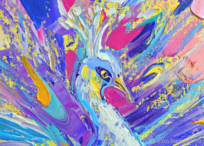 Фрагмент картины - голова павлина
