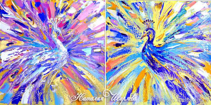 Картина маслом с павлинами Красочный Танец