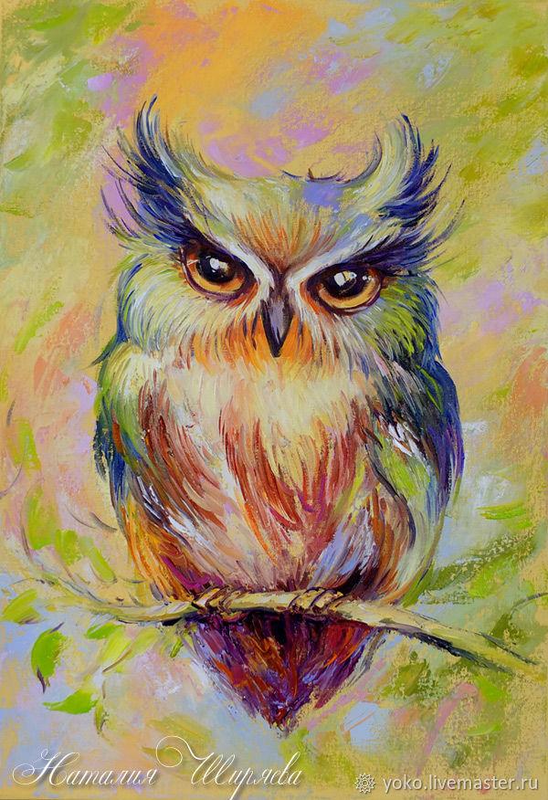 """Картина с совой """"Глазастый Пушистик"""" - масло холст 60 на 40 см Наталия Ширяева"""