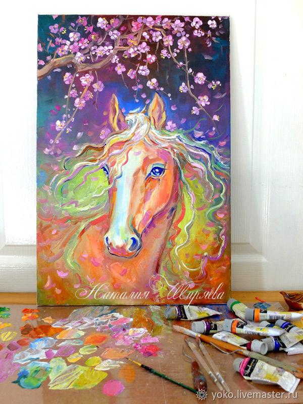 Картина с лошадью маслом Розовые Лепестки
