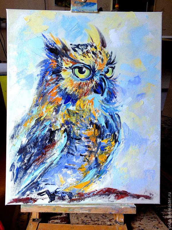 Картина маслом - сова на ветке