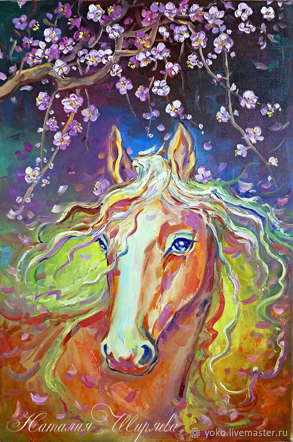 """Картина лошадь маслом """"Розовые Лепестки"""" художник Наталия Ширяева"""
