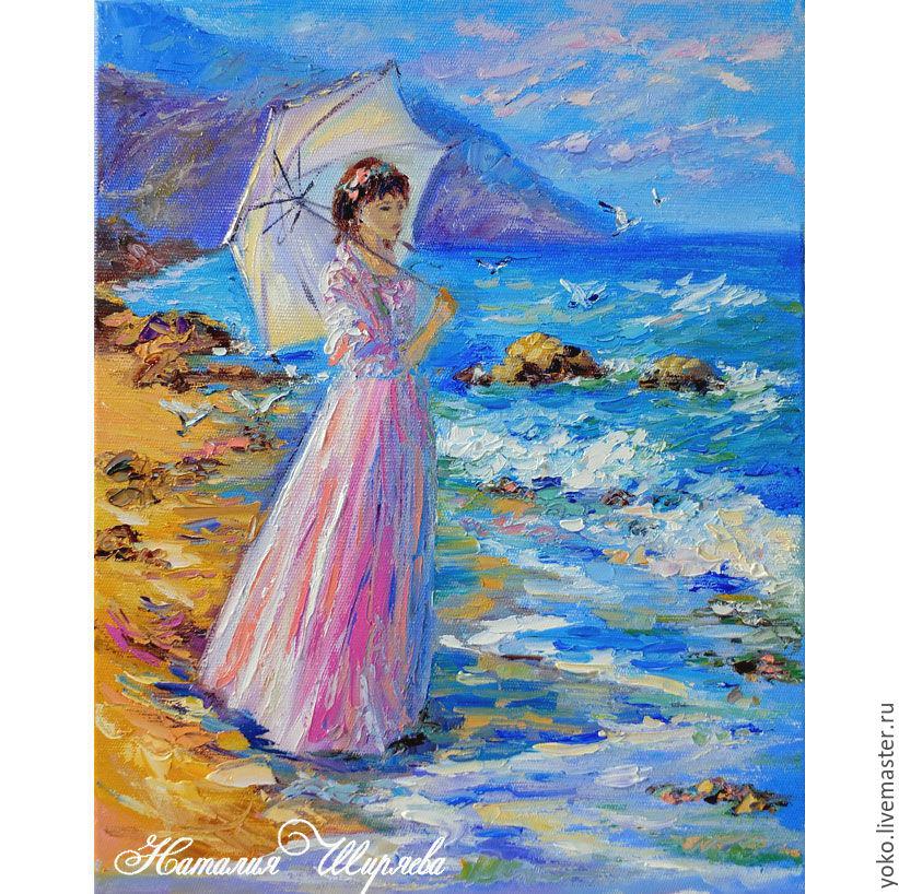 "Картина маслом ""Девушка на берегу моря"" художник Наталия Ширяева"