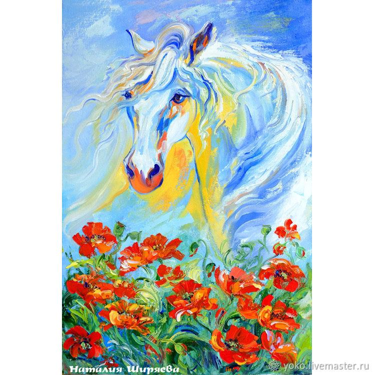 "Картина маслом ""Лошадь Белая"" Наталия Ширяева - холст масло"
