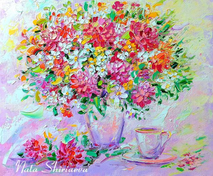 """Яркий букет с цветами маслом на холсте """"Бело-Розовый Восторг"""" - автор Наталия Ширяева"""