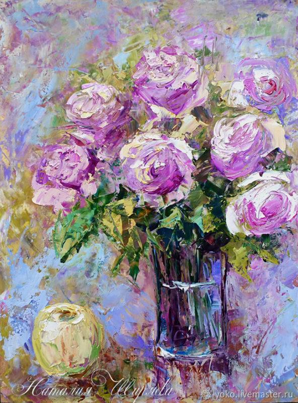 """Картина розы """"Букет Роз и Яблоко"""" художник Наталия Ширяева"""