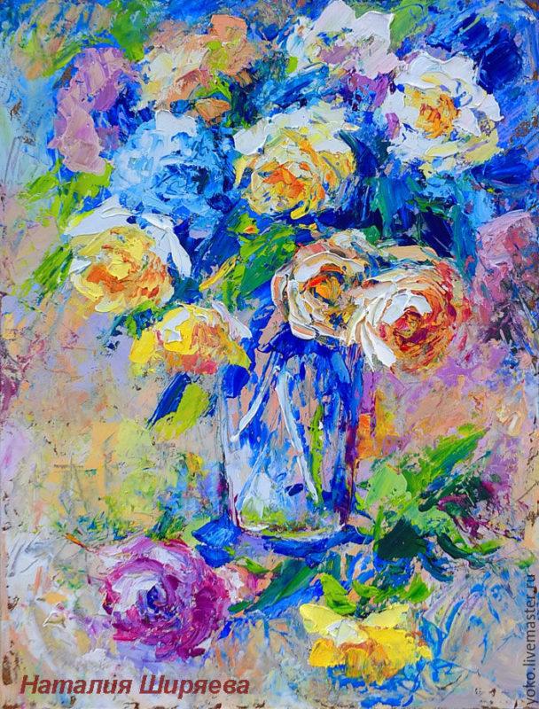 "Картина с розами ""Прохладное Утро"" художник Наталия Ширяева"