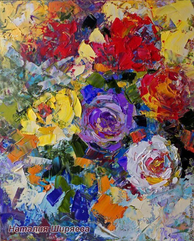 """Картина с розами """"Цветные Сны"""" художник Наталия Ширяева"""