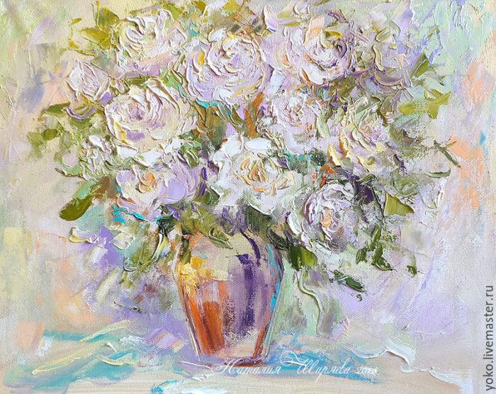"""Картина """"Белые Розы"""" художник Наталия Ширяева"""