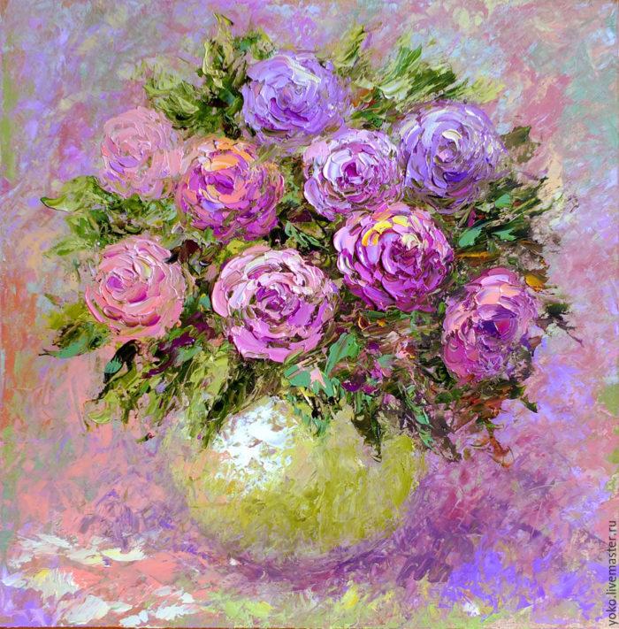 """Картина розы """"Нежно и Очаровательно"""" художник Наталия Ширяева"""