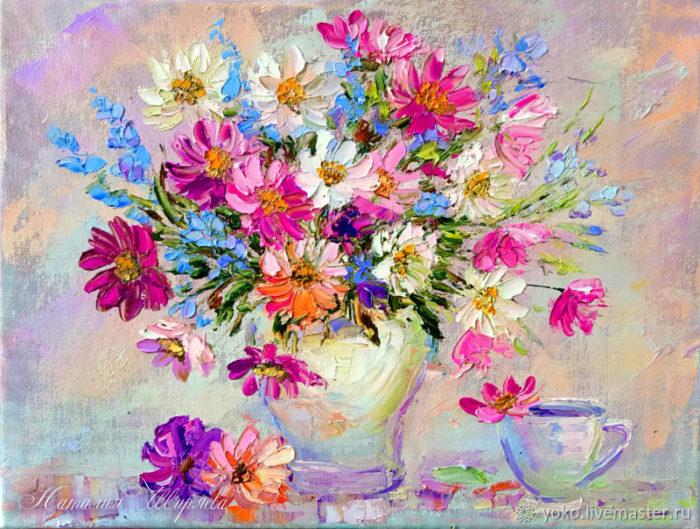 """Картина с цветами """"Букет в розовых тонах"""" художник Наталия Ширяева"""