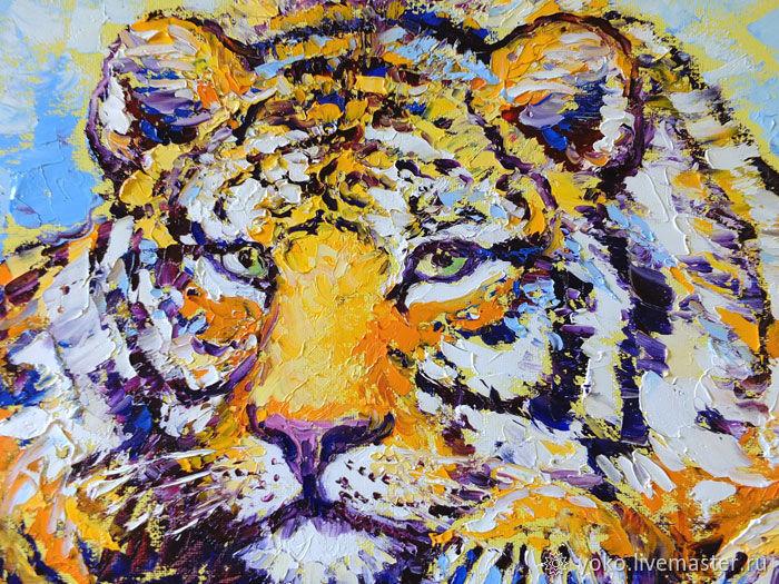 Голова тигра - картина маслом на холсте