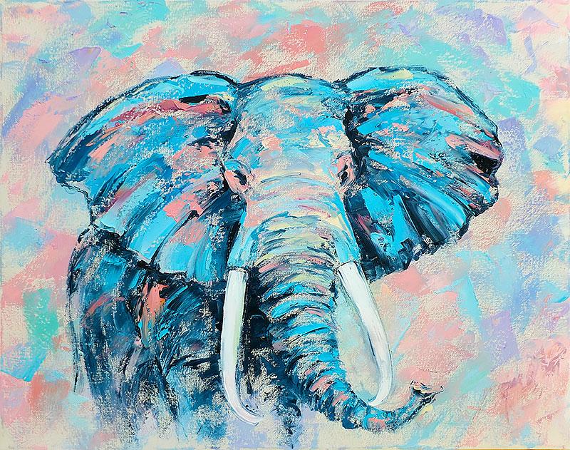 """Картина слон маслом """"Абстрактный Бирюзовый Слон"""" художник Наталия Ширяева"""
