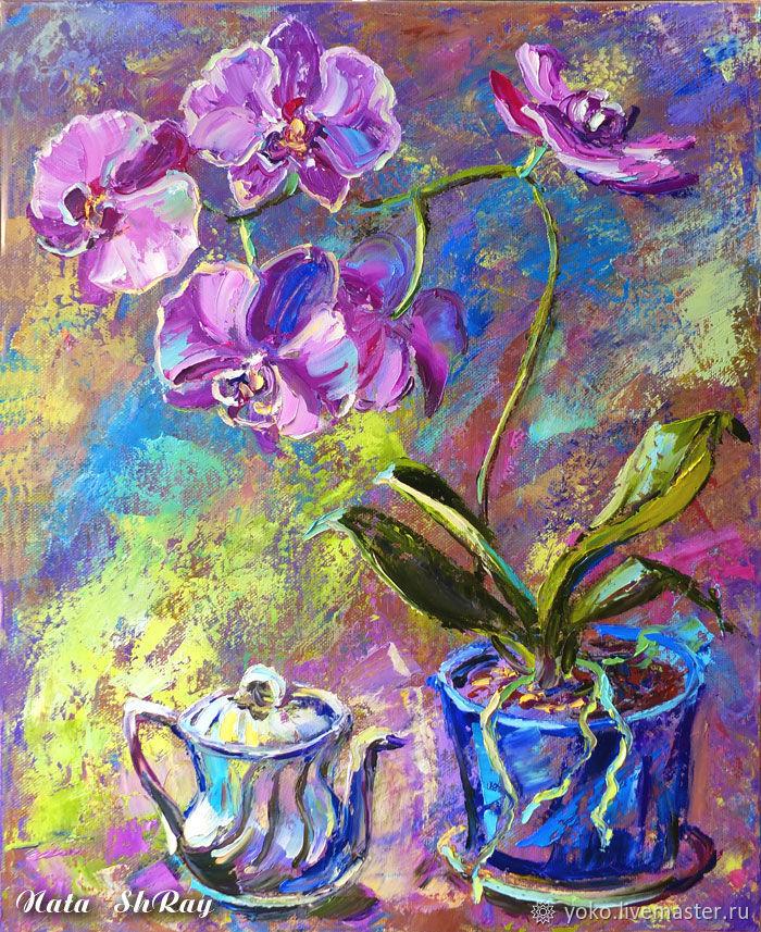 """Картина с орхидеями маслом """"Вечернее Чаепитие"""" художник Наталия Ширяева"""